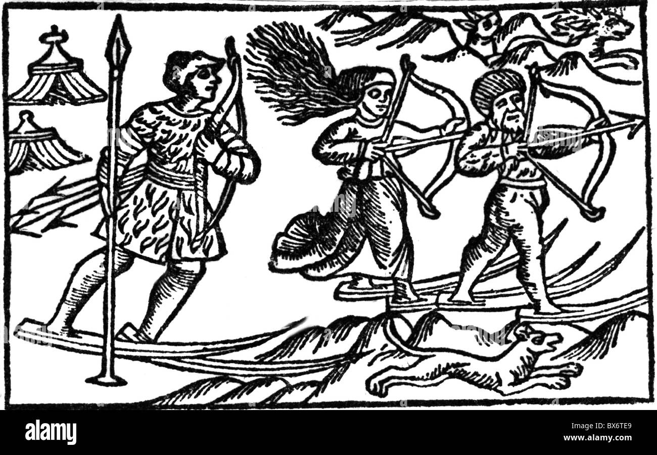 sports, winter sports, Nordic ski, hunting Scandinavians, illustration after Olaus Magnus / Historia de gentibus Stock Photo