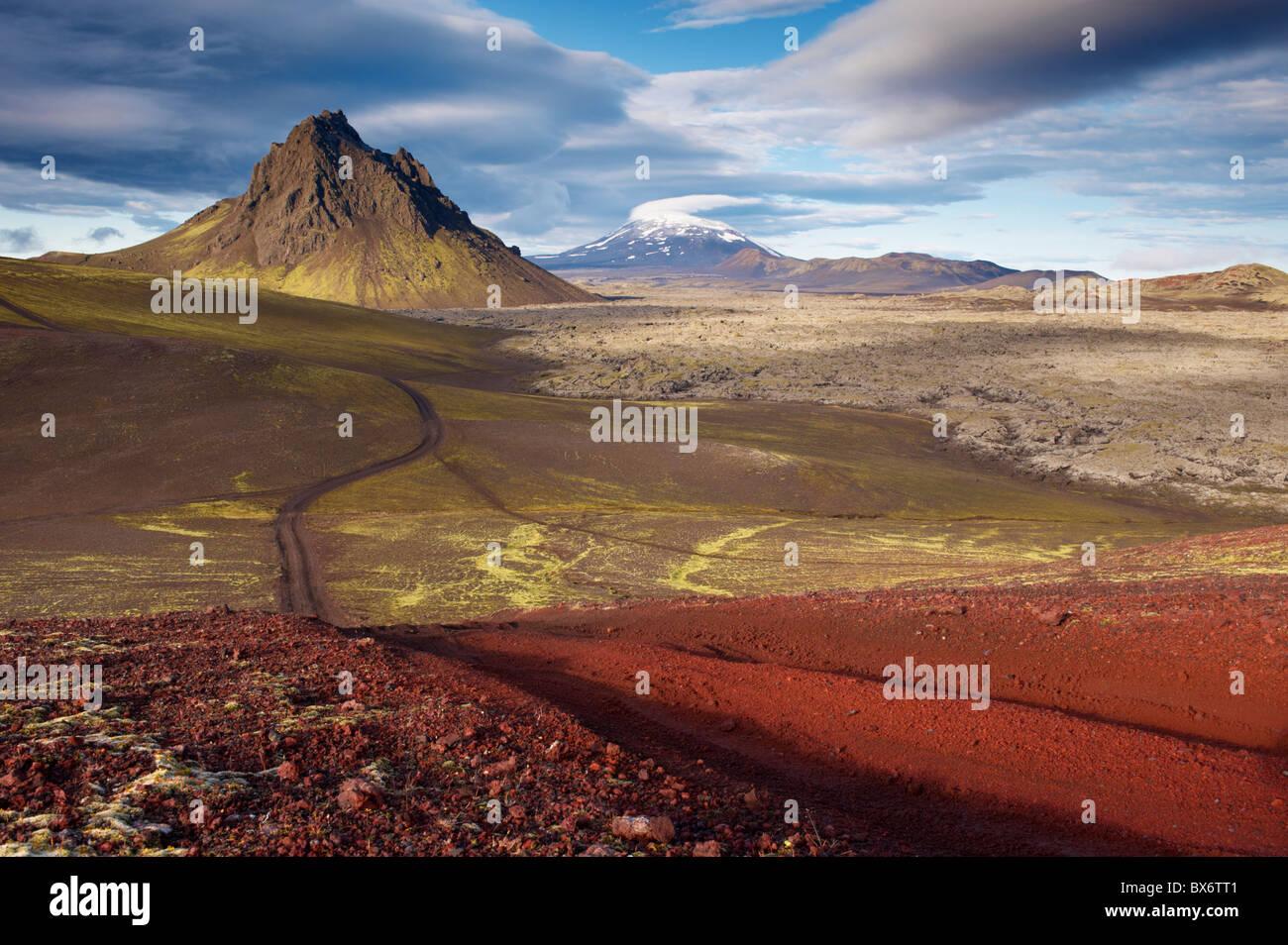 Mount Krakatindur, 858 m, standing solitary in the Nyjahraun lava field, Fjallabak, Iceland - Stock Image