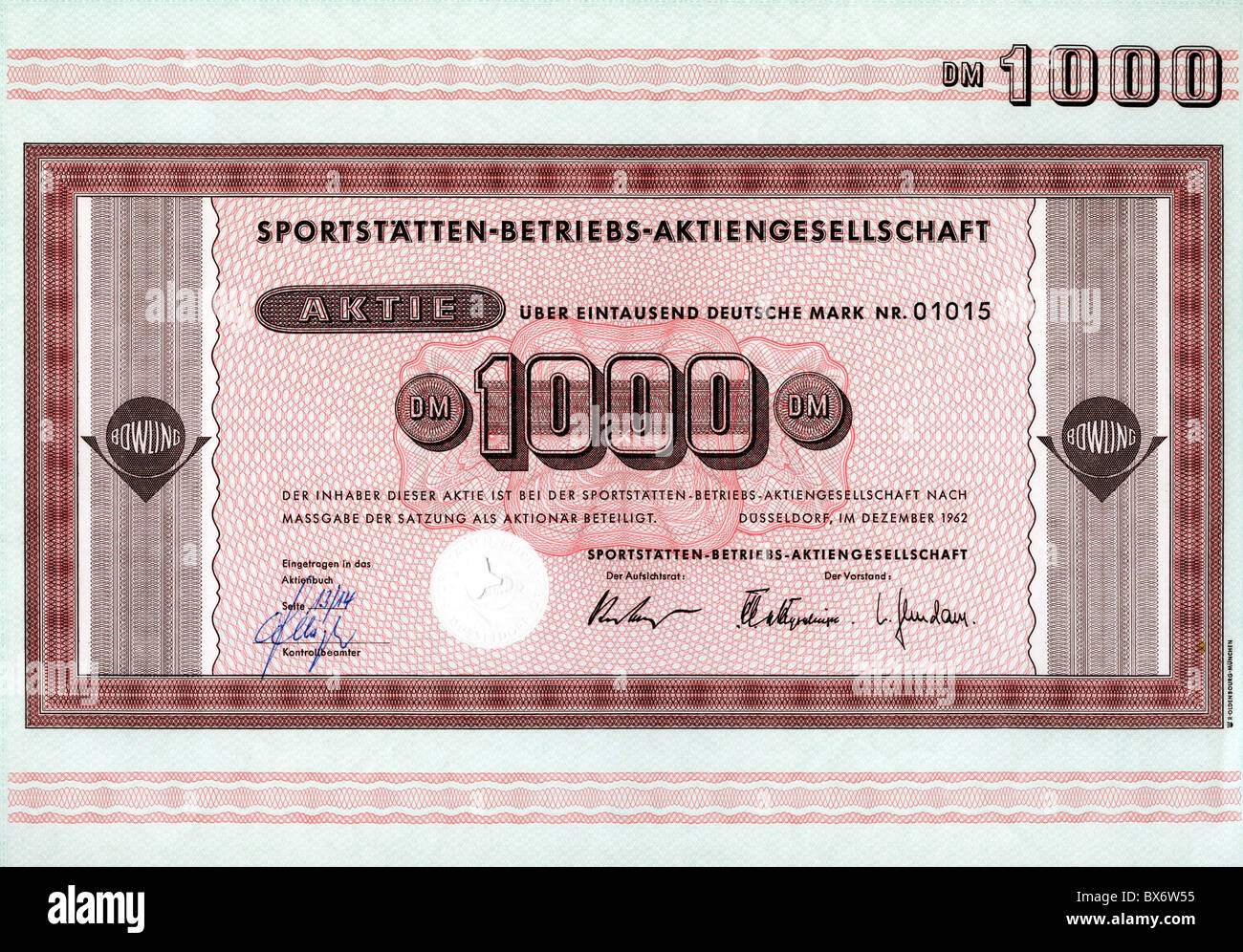 money / finance, stocks, Sportstaetten Betriebs-Aktiengesellschaft, 1000 DM, Duesseldorf, December 1962, Additional - Stock Image
