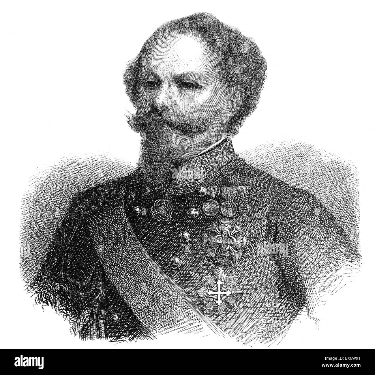 Victor Emmanuel II of Italy, 14.3.1820 - 9.1.1878, King of Italy 1861 - 1878, portrait, wood engraving, 19th century, - Stock Image