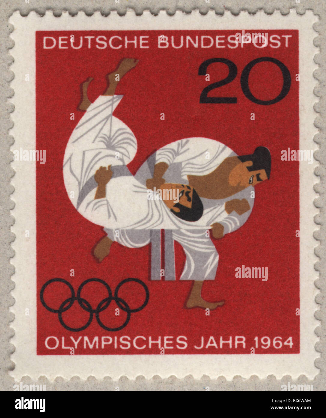 mail / post, postage stamps, German Federal Post, 20 pfennig special edition to the olympic games 1964 in Tokyo, - Stock Image