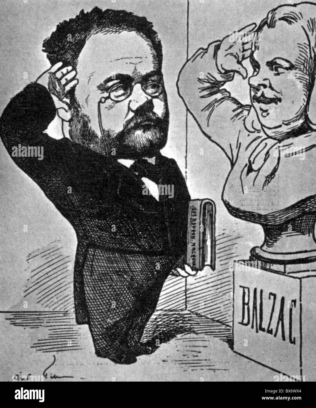 Zola, Emile, 2.4.1840 - 29.9.1902, French author / writer, caricature, saluting the bust of Honore de Balzac, 1878, - Stock Image