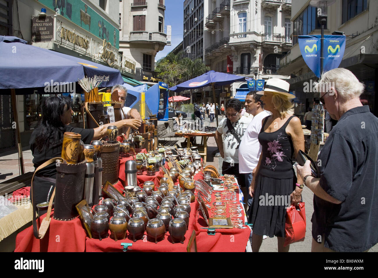 Selling Mate cups on Sarandi Street in the Old City District, Montevideo, Uruguay, South America - Stock Image