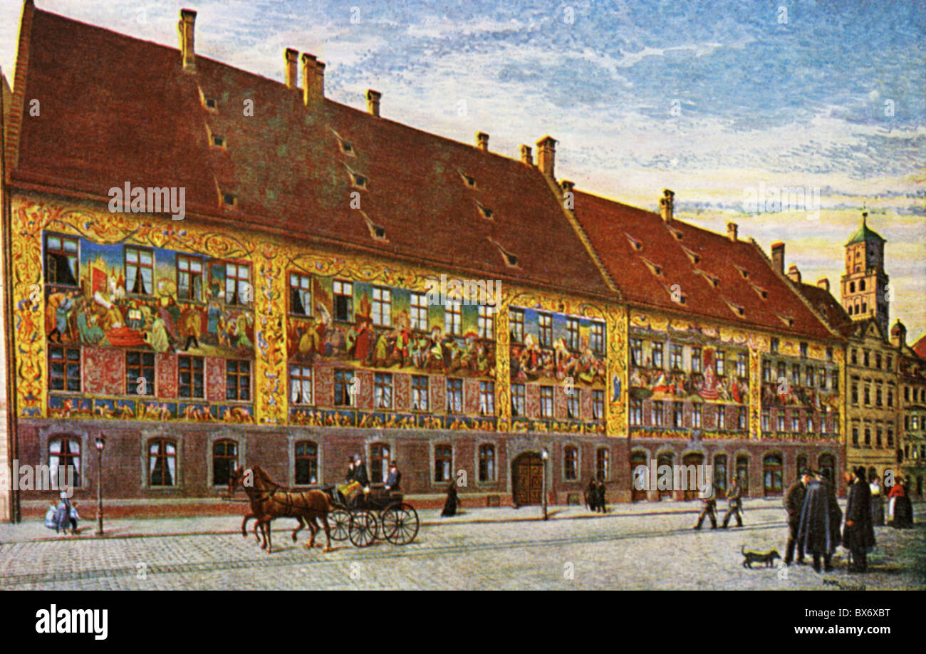 geography / travel, Germany, Augsburg, Fugger Houses, Maximilianstrasse, exterior view, art postcard, Kutscher und Stock Photo