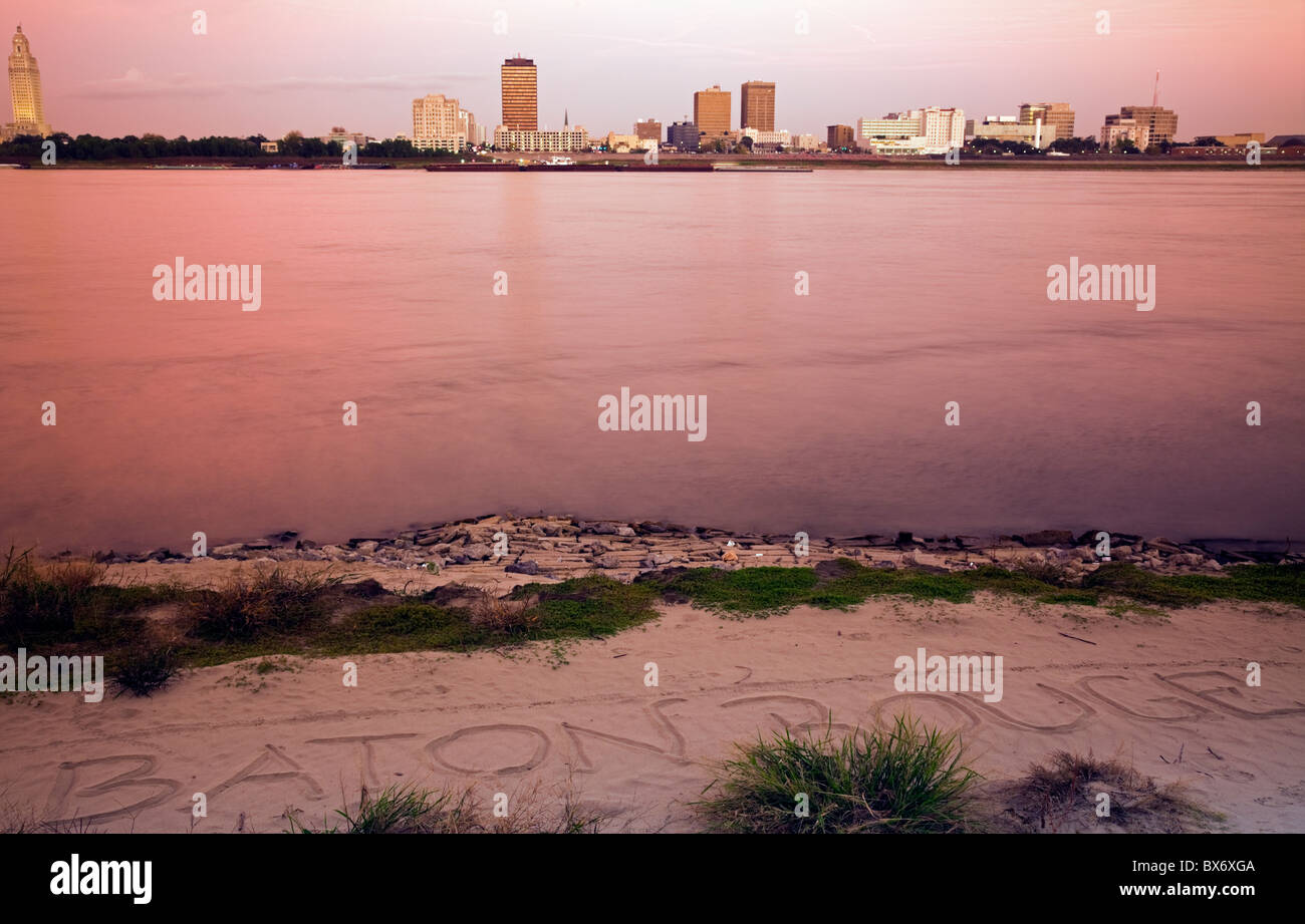 Baton Rouge seen after sunset - Stock Image