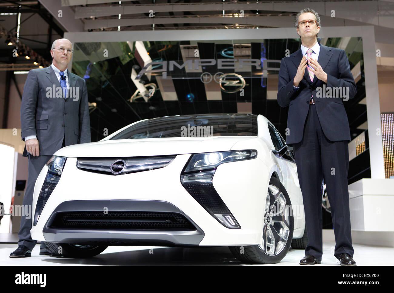 Carl-Peter Faster, Frank Weber, GM, General Motors, Opel Ampera, car - Stock Image