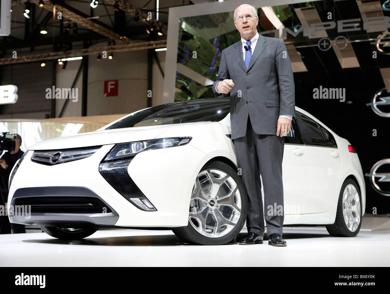 Carl-Peter Forster, CEO of General Motors Europe, Opel Ampera, car - Stock Image
