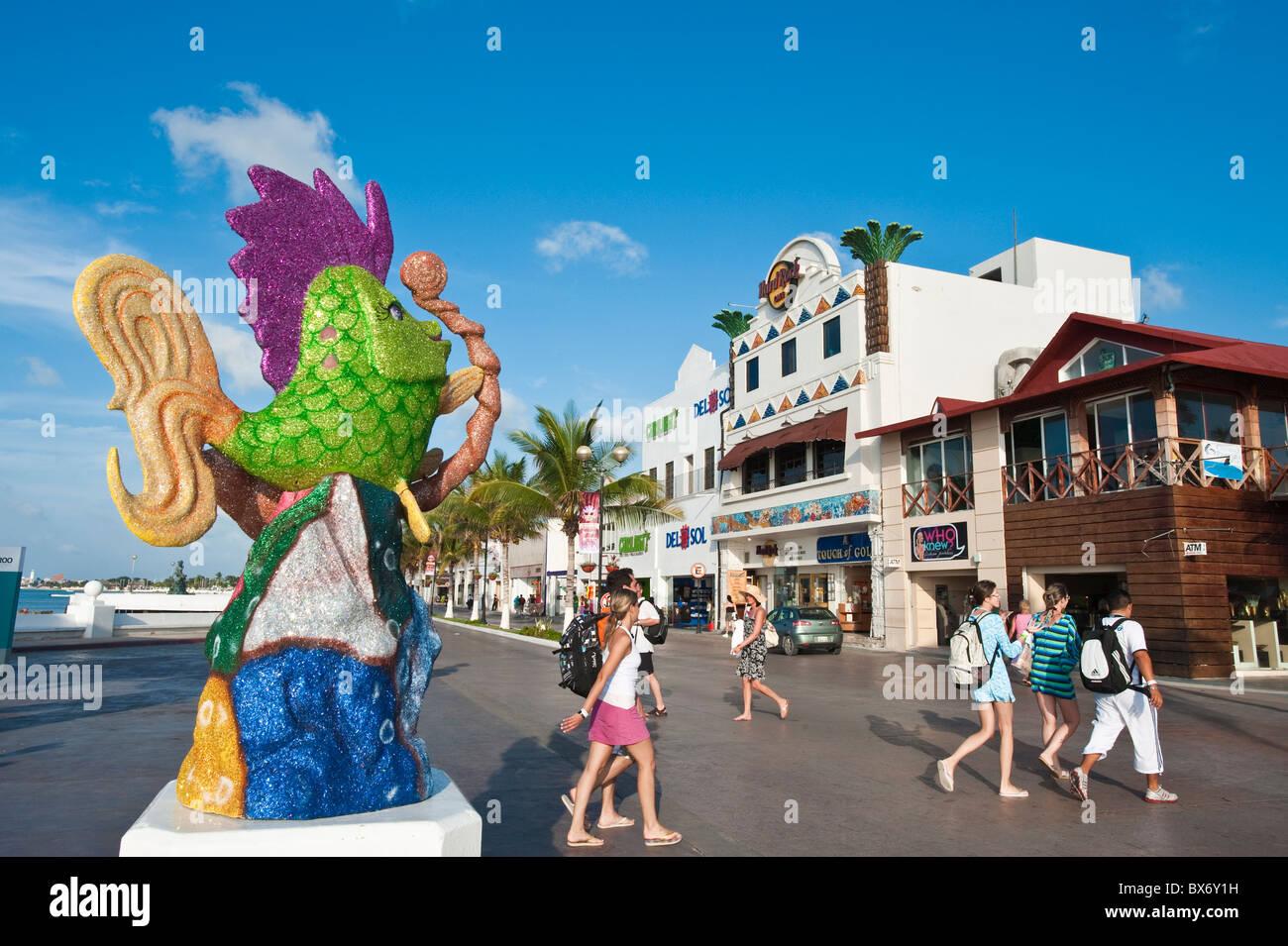 Carnival decorations in San Miguel, Isla de Cozumel (Cozumel Island), Cozumel, off the Yucatan, Quintana Roo, Mexico - Stock Image