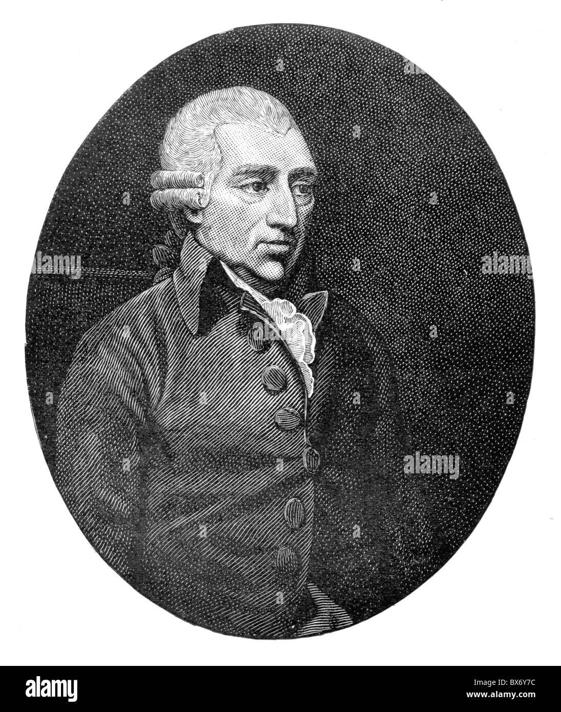 John Howard, English Prison Reformer 1789, Black and White Illustration; Stock Photo