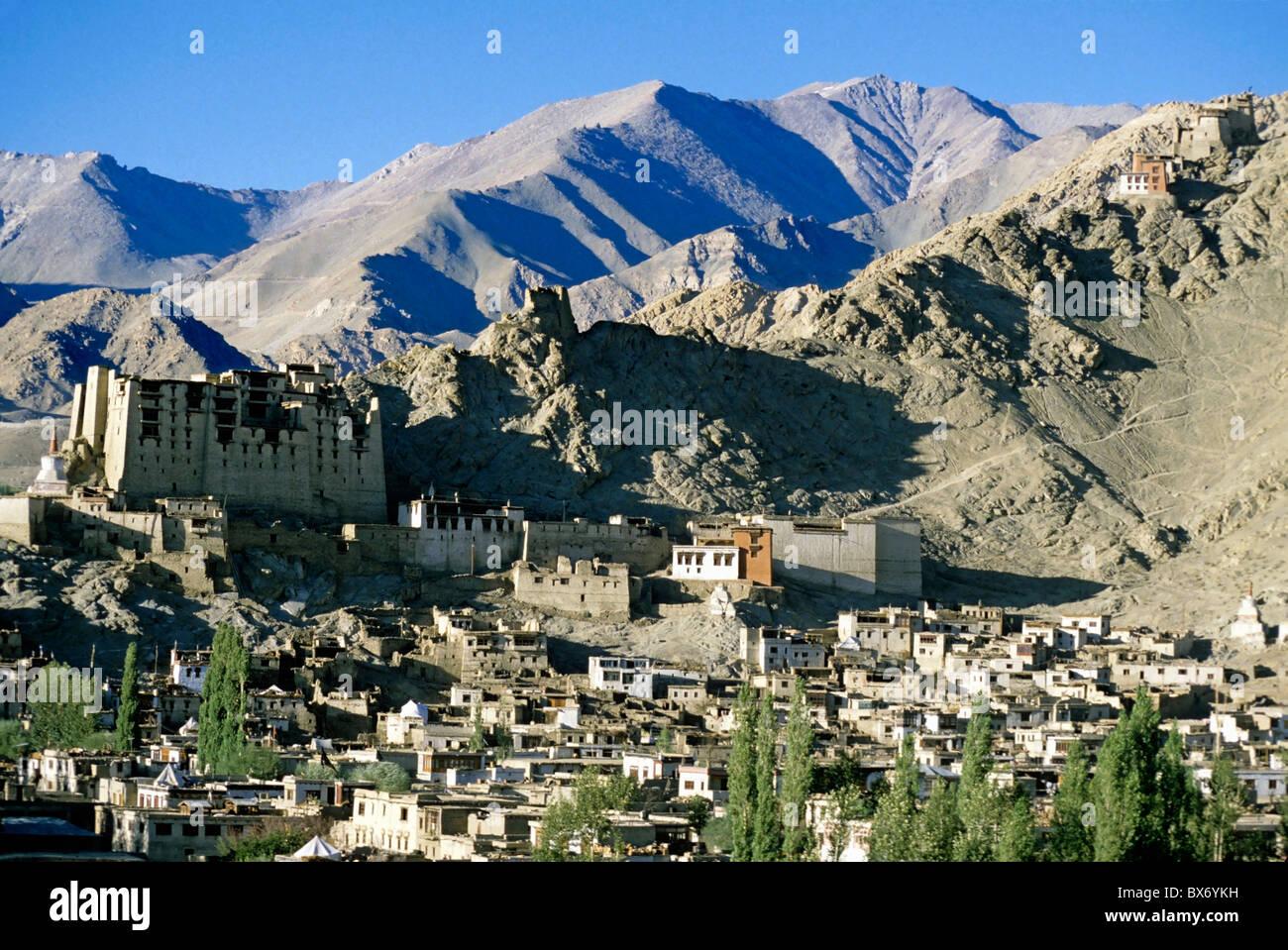 Leh Palace overlooking the town, Leh, Ladakh, India. - Stock Image