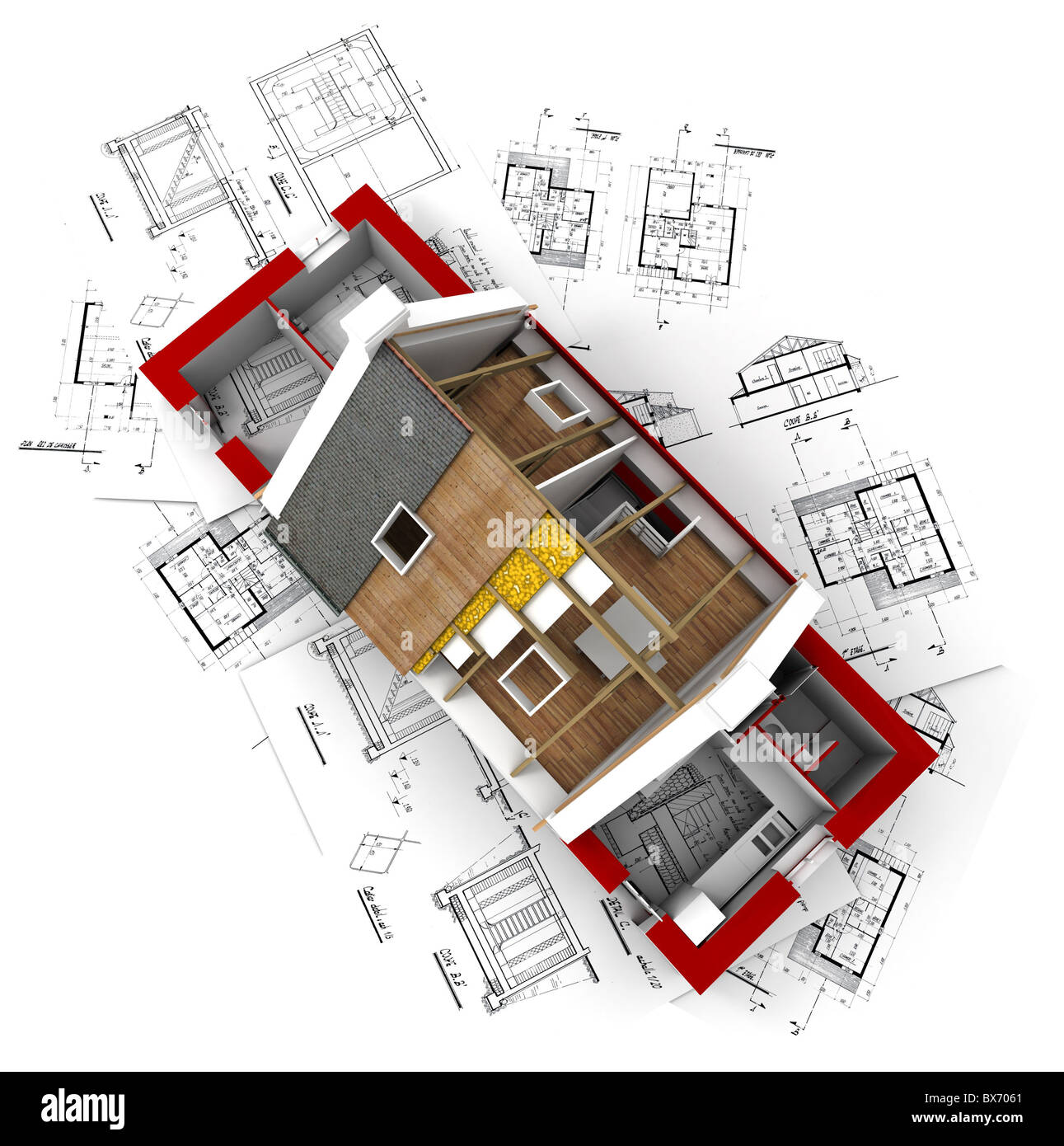 3D rendering of a roofless house on top of architect plans Stock ...