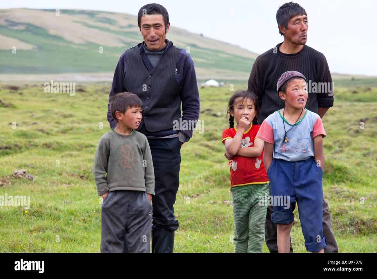Kazakh family in Western  Mongolia - Stock Image