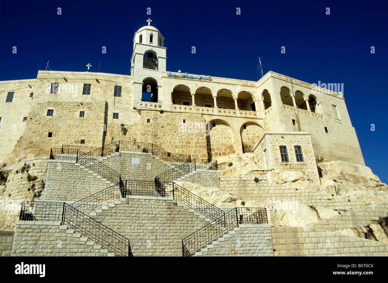 Steps up to an old convent, Saidnaya, Syria. Stock Photo