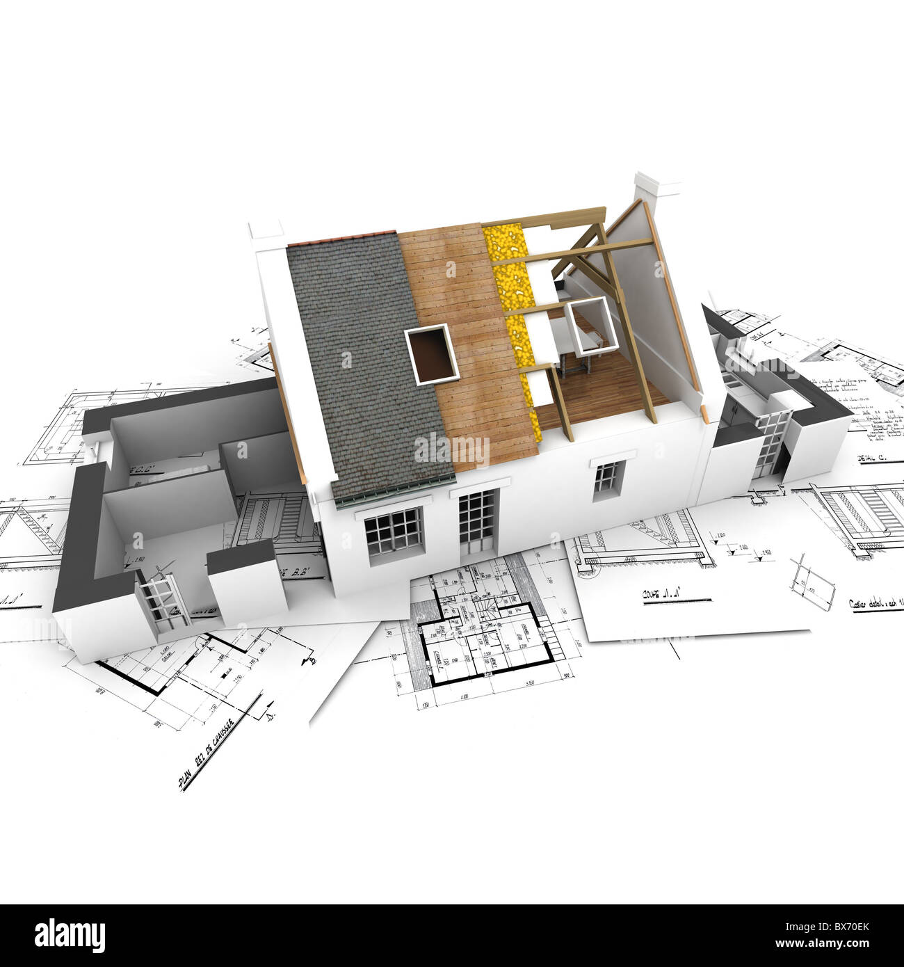 Exposed roof stock photos exposed roof stock images alamy house with exposed roof layers on top of architect blueprints stock image malvernweather Choice Image