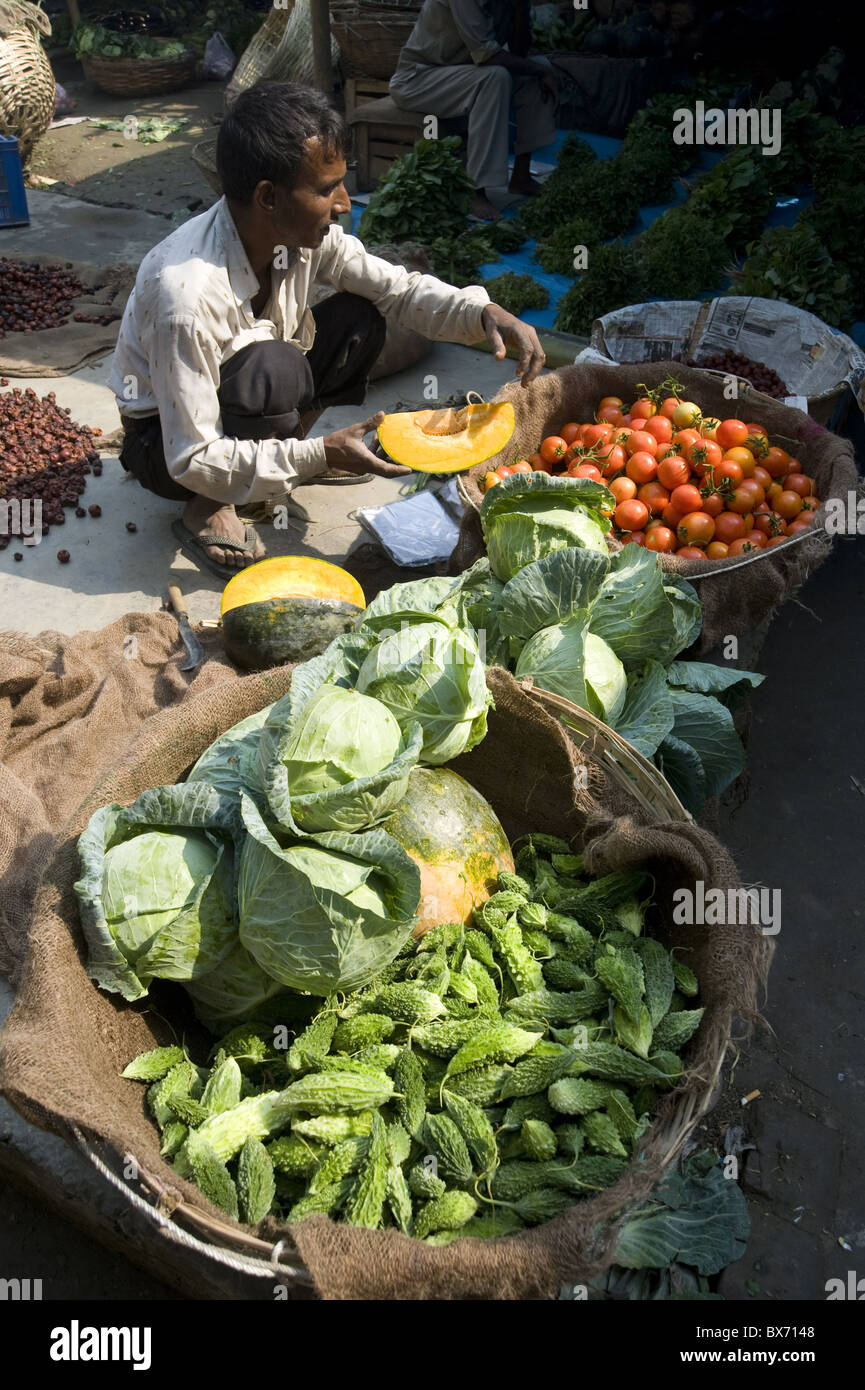 Vegetable wallah in early morning market on the banks of the Brahmaputra river, Guwahati, Assam, India - Stock Image