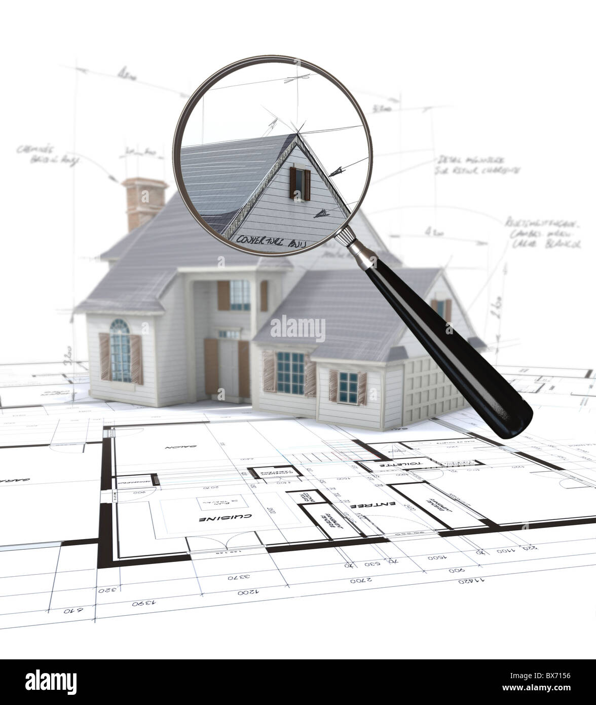 3D rendering of an architecture model scrutinized by a magnifying glass  Stock Photo