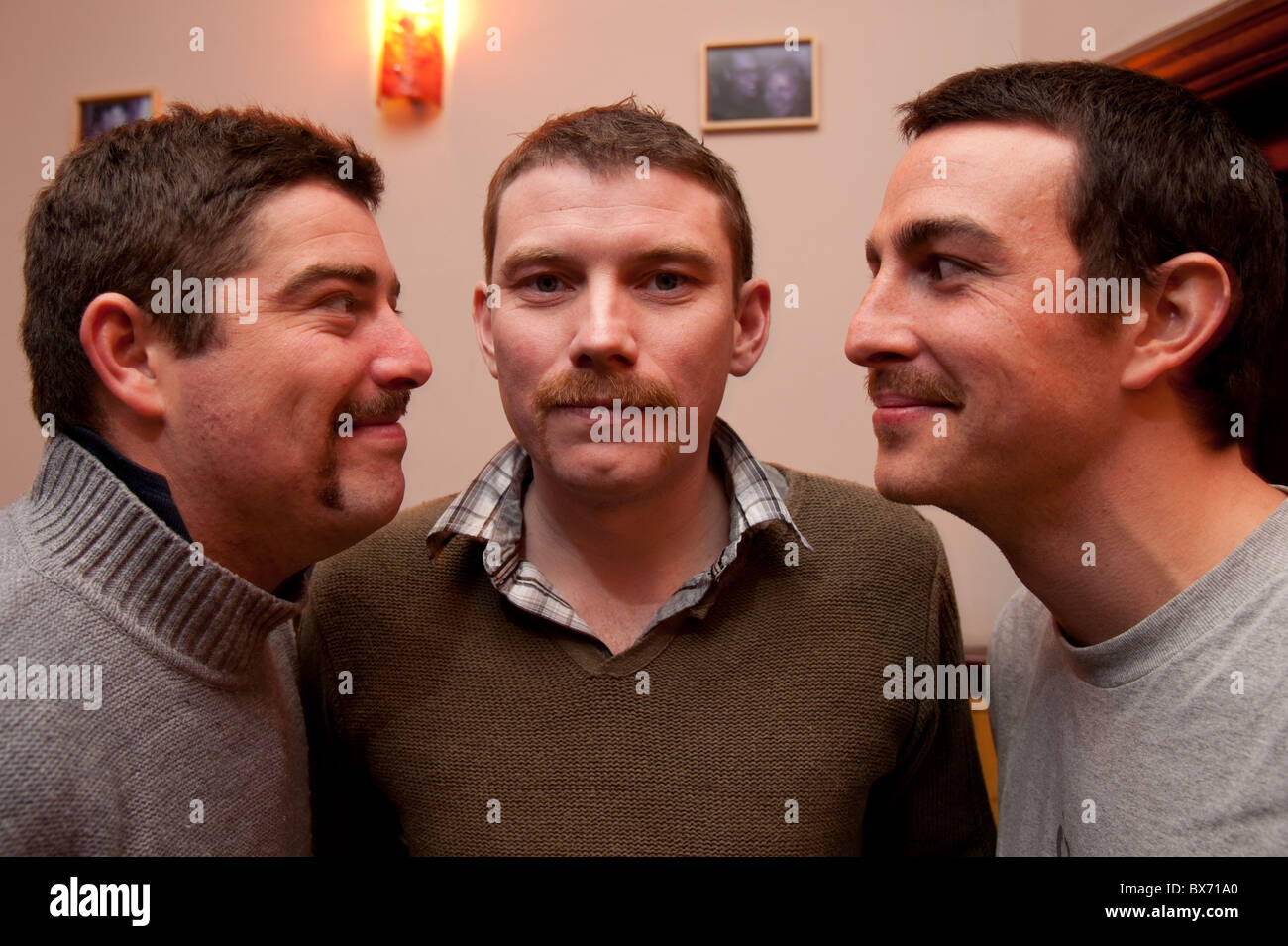 'Movember' growing mustaches charity fundraising event in aid of prostrate cancer research Aberystwyth Wales - Stock Image