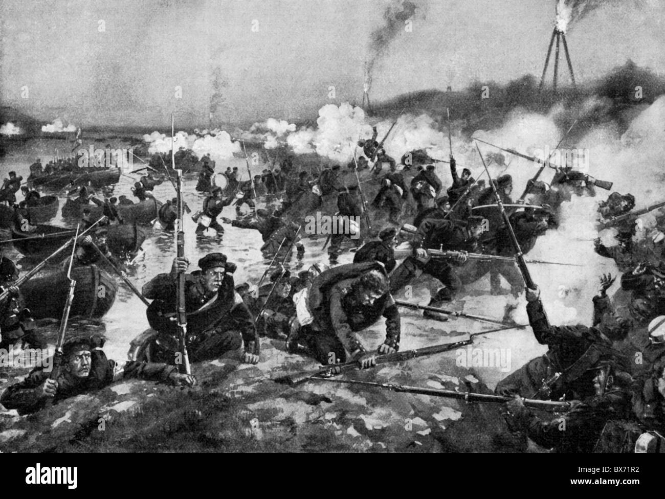 events, Second War of Schleswig 1864, Battle of Als, 29.6.1864, Prussian  troops crossing the Alssund and landing on Als Island, print after painting  by ...