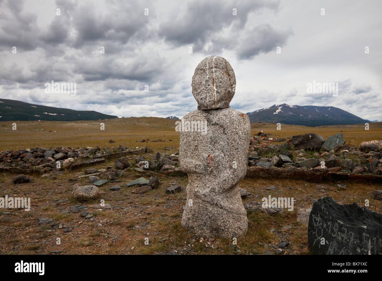 Ancient  stone stele  in Mongolia near lake Hoton, Western  Mongolia - Stock Image