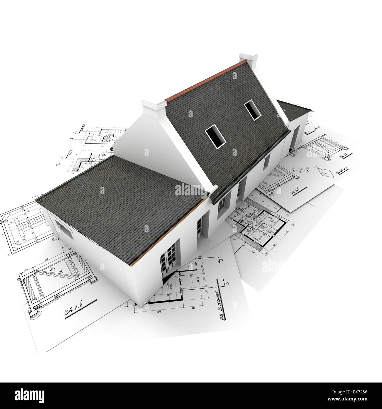 3D rendering of a house on top of architecture blueprints Stock