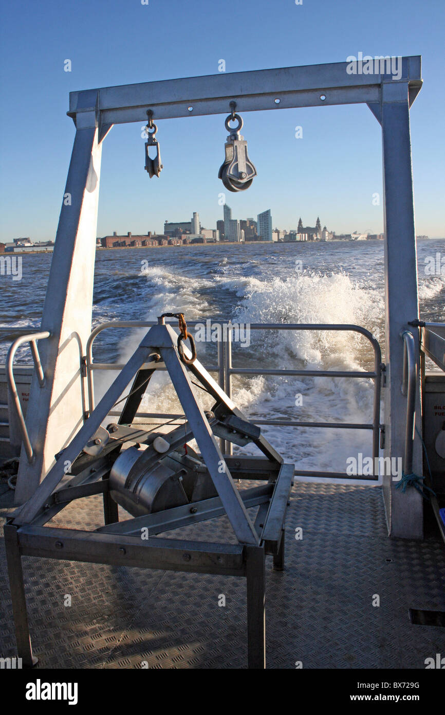Liverpool Skyline Seen From The Stern Of RV Marissa On The River Mersey - Stock Image