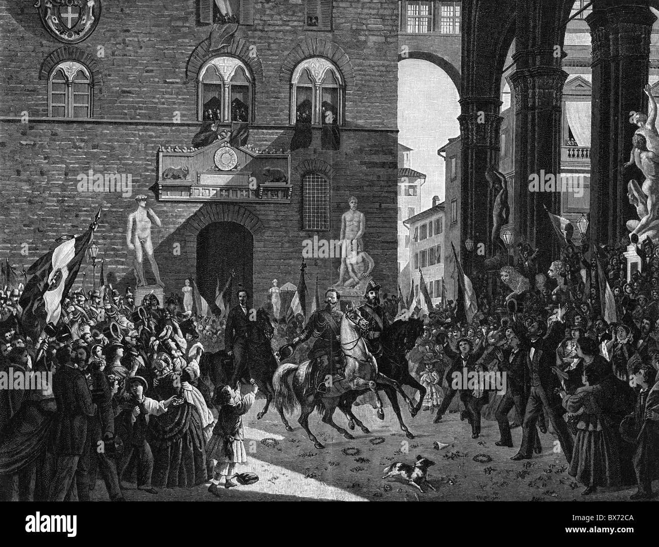 Victor Emmanuel II of Italy, 14.3.1820 - 9.1.1878, King of Italy 1861 - 1878, scene, Victor Emmanuel II entering Stock Photo