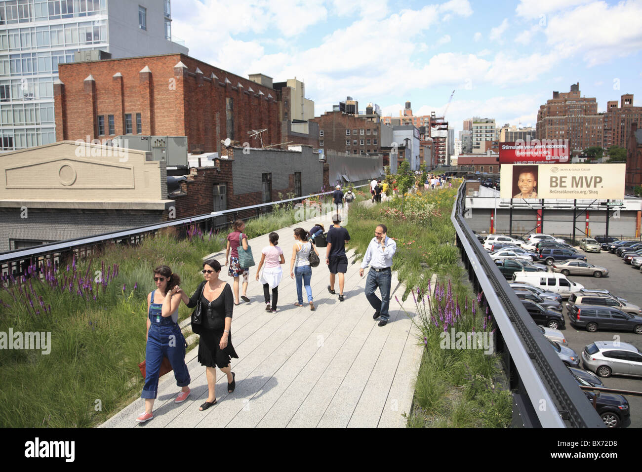 High Line, elevated public park on former rail tracks, Manhattan, New York City, United States of America, North - Stock Image