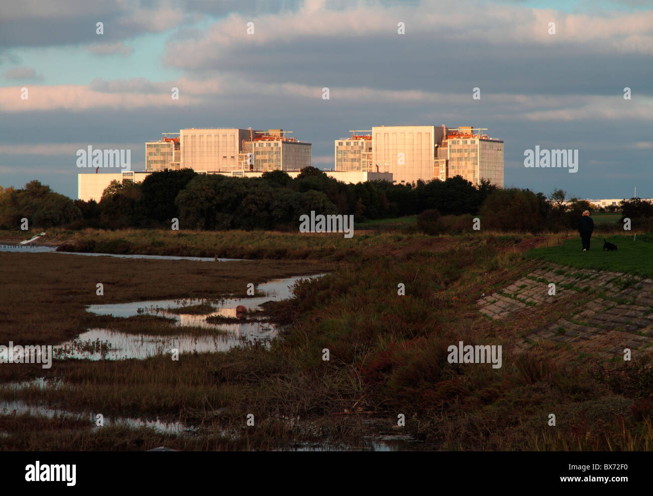 Bradwell nuclear power station located on the Dengie peninsula at the mouth of the River Blackwater in Essex England. - Stock Image