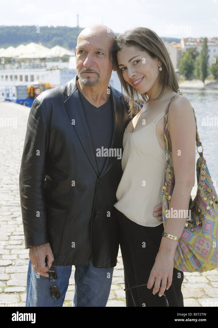 British actor Sir Ben Kingsley Oscar-winner for the title role in Gandhi and his wife actress Daniela Lavender pose - Stock Image