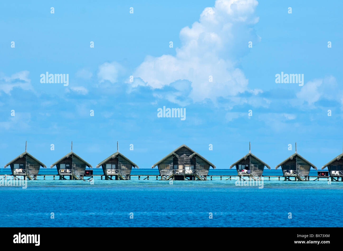 Resort bungalows in the sea, Maldives. - Stock Image