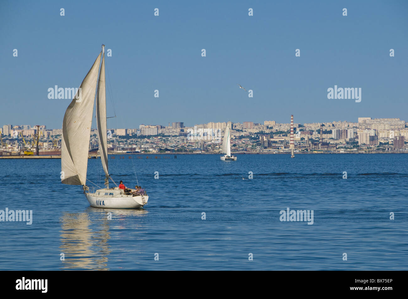 Sailing boat on Baku Bay, Baku, Azerbaijan, Central Asia, Asia Stock Photo