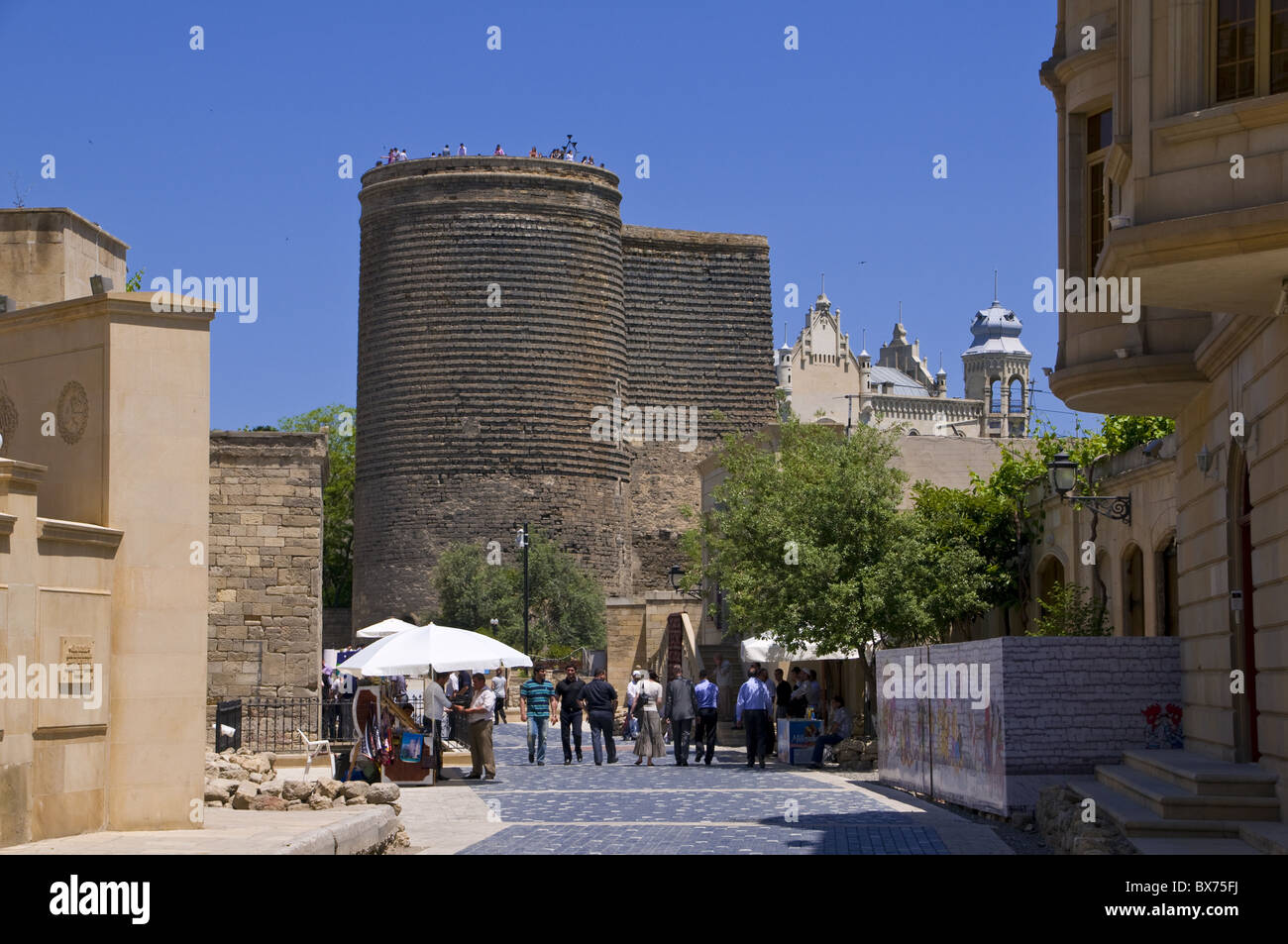 Maiden Tower in the center of the old town of Baku, UNESCO World Heritage Site, Azerbaijan, Central Asia, Asia - Stock Image
