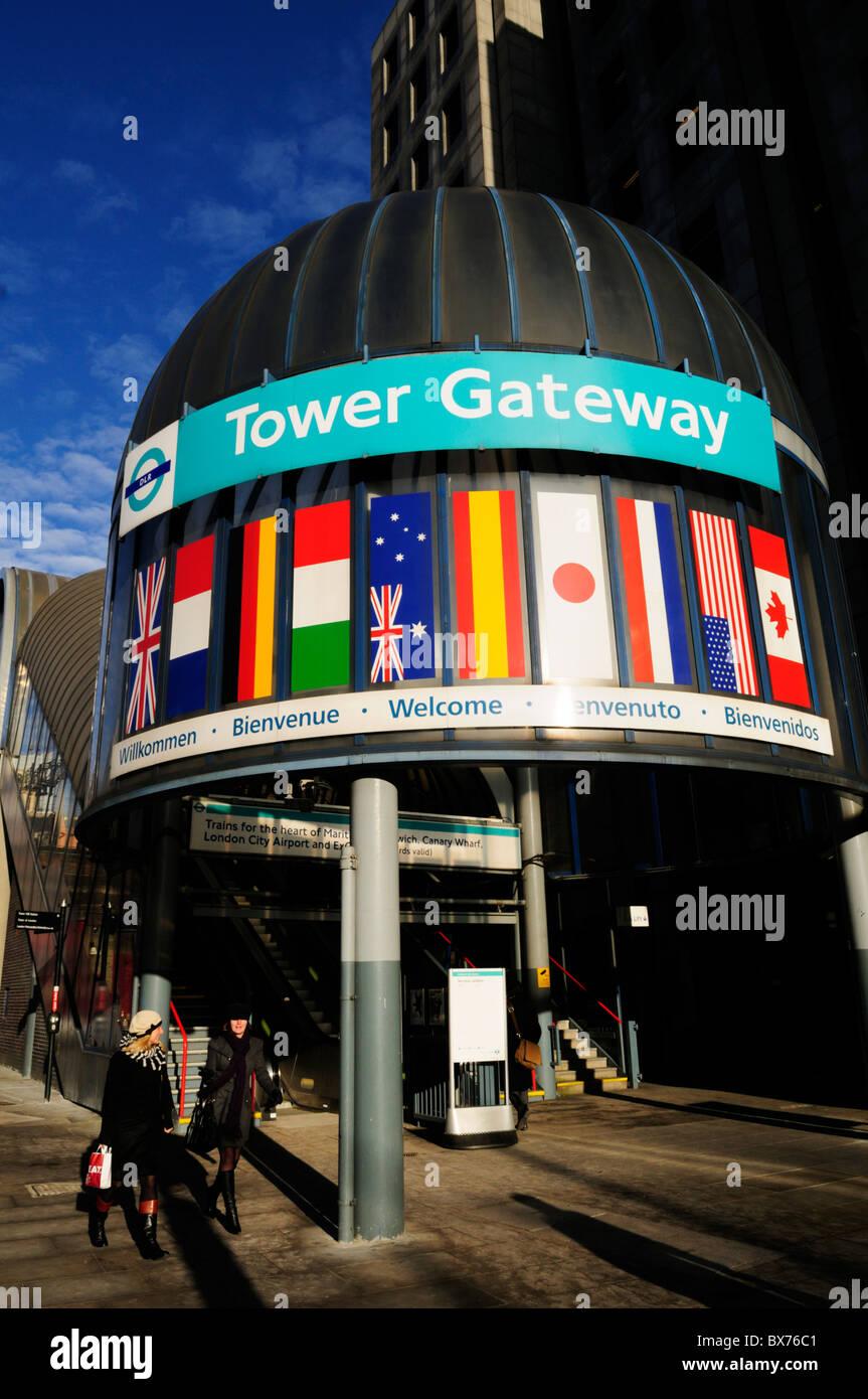 Entrance to Tower Gateway Docklands Light Railway DLR station, London, England, UK - Stock Image