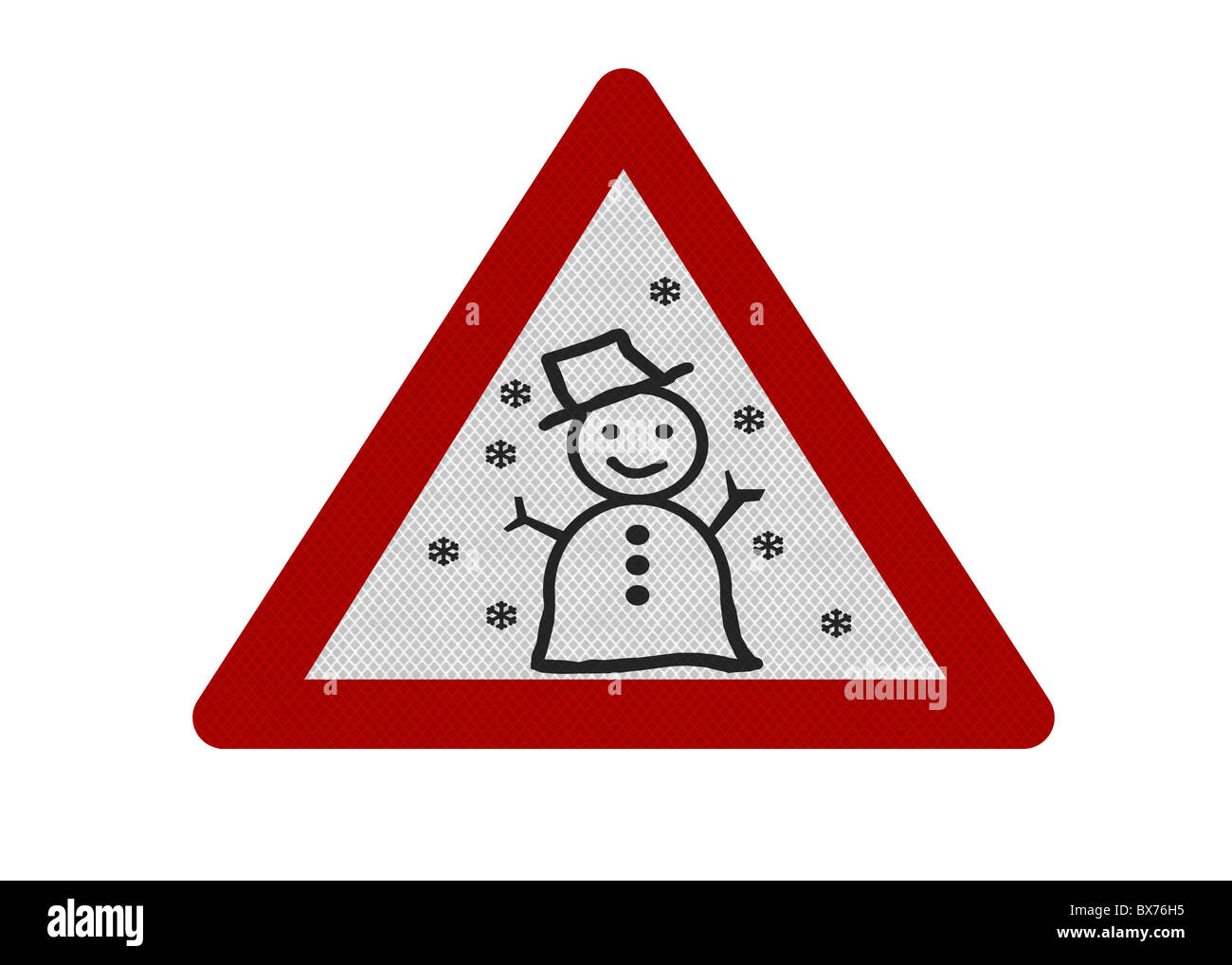 Photo realistic reflective metallic 'snow warning' sign, isolated on a pure white background. - Stock Image