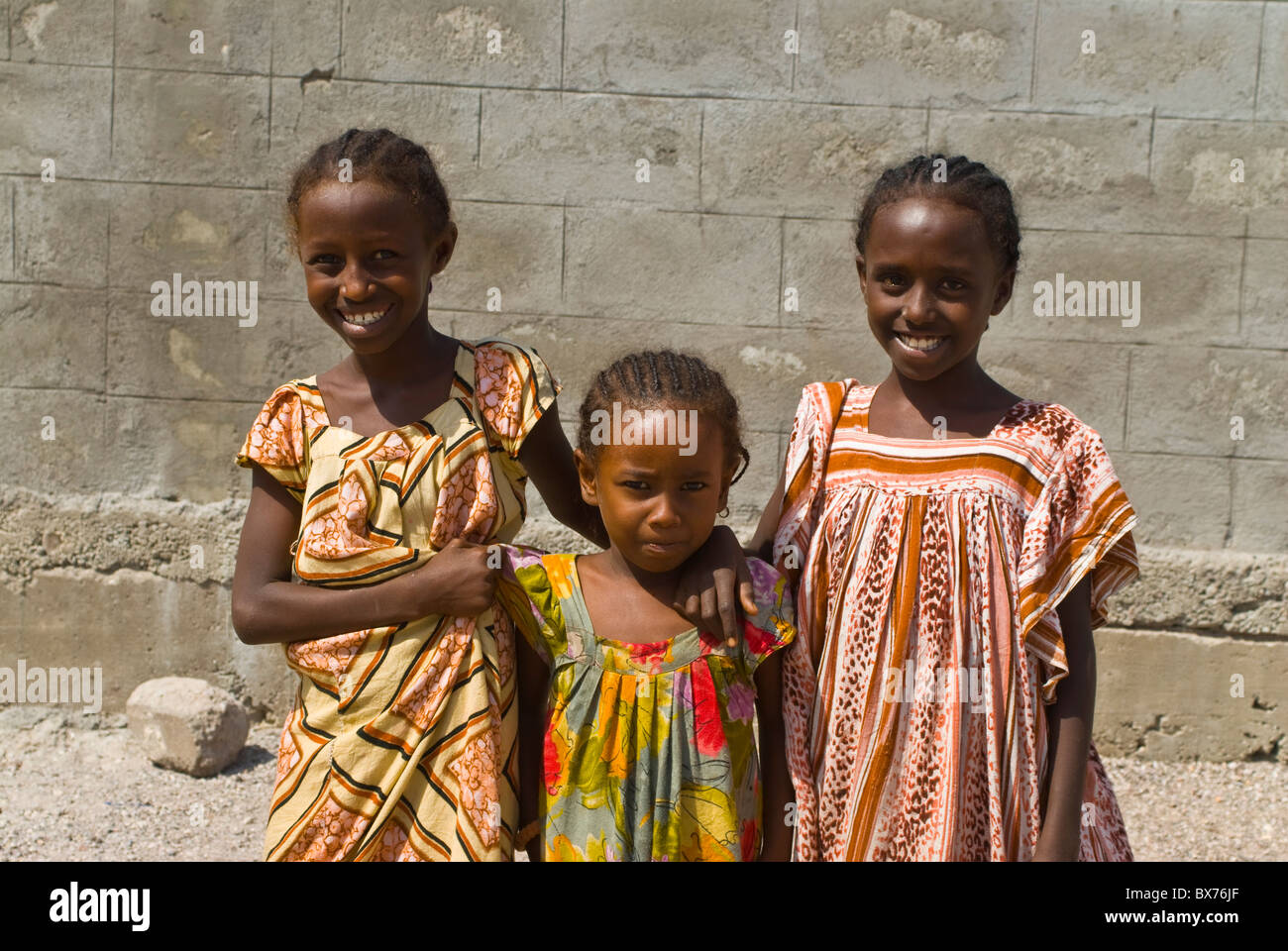 Happy young girls, Tadjoura, Republic of Djibouti, Africa - Stock Image