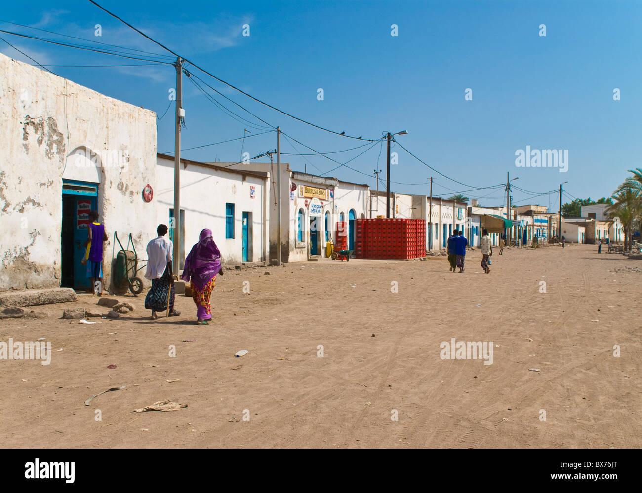 Street scene in Tadjoura, Republic of Djibouti, Africa - Stock Image