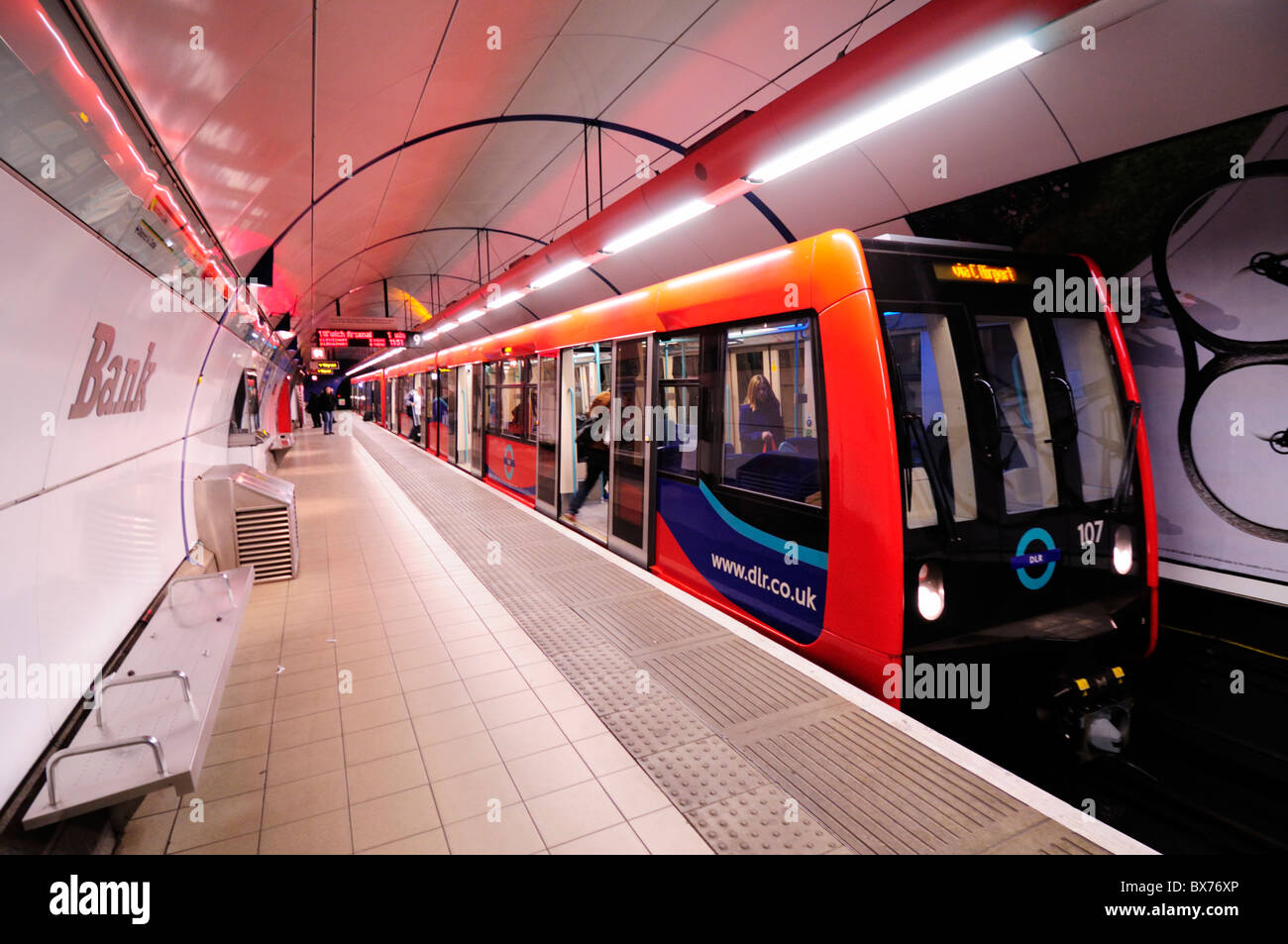 A Docklands Light Railway DLR train at Bank Station, London, England, UK - Stock Image