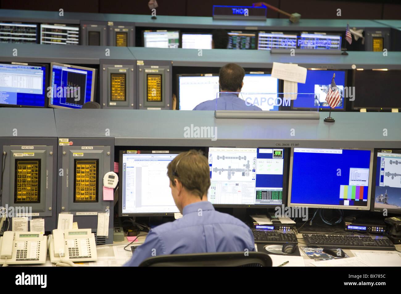 Mission Control room at NASA, Houston, Texas, United States of America, North America - Stock Image