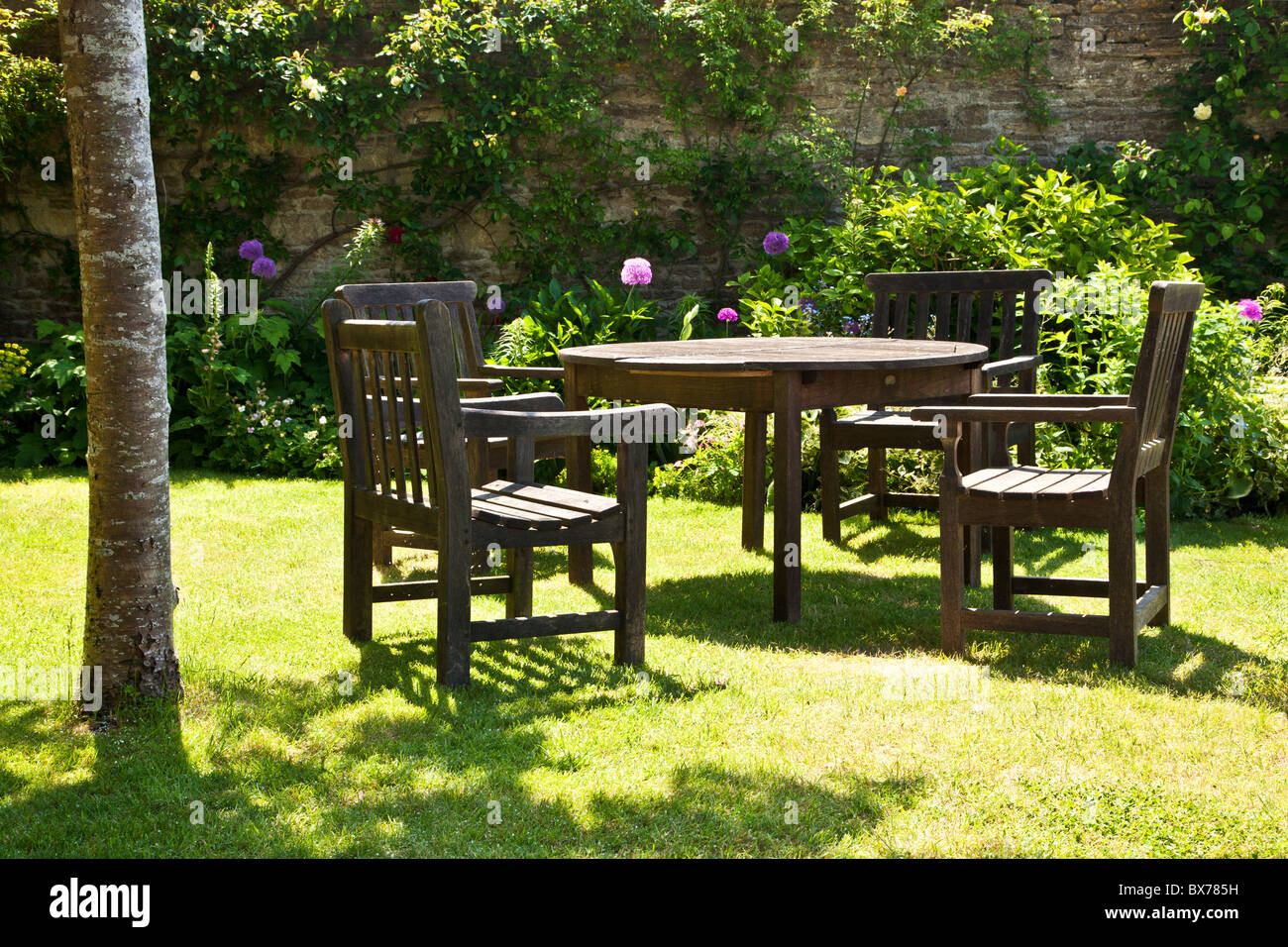wooden garden furniture stock photos wooden garden furniture stock