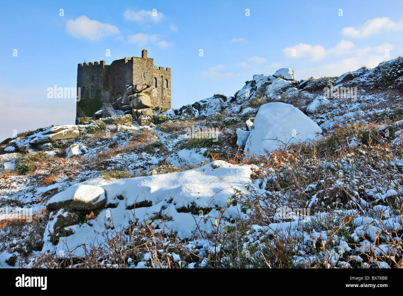 Carn Brea Castle / Restaurant captured after a heavy snow fall - Stock Image