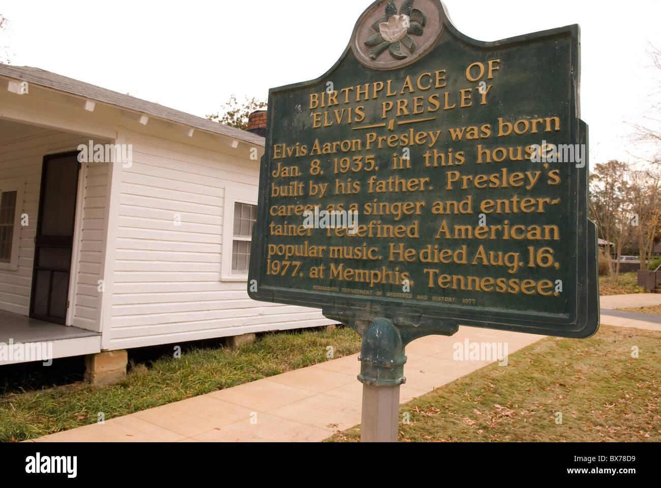 Elvis Presley Childhood Home Museum Tupelo Mississippi USA - Stock Image
