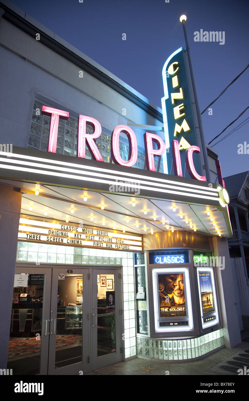 Tropic Cinema, an art deco building in Key West, Florida, United States of America, North America - Stock Image