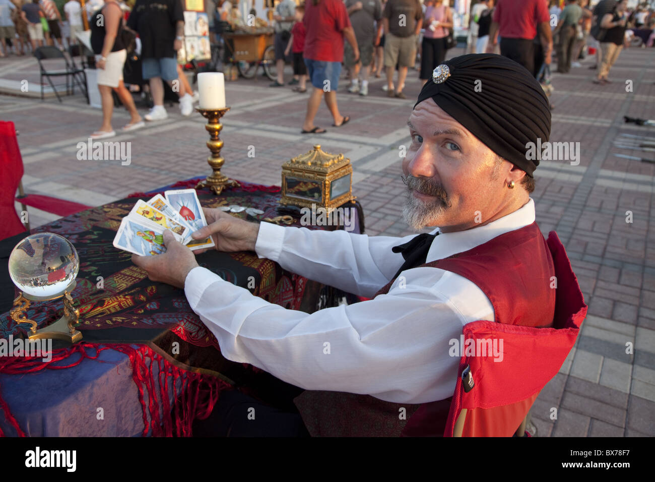 Psychic reading cards with crystal ball in Mallory Square, Key West, Florida, United States of America, North America - Stock Image