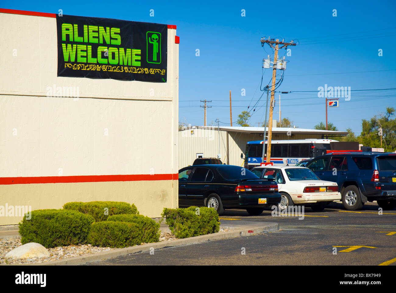 Arbys Restaurant, Aliens Welcome sign, Roswell, New Mexico, United States of America, North America - Stock Image