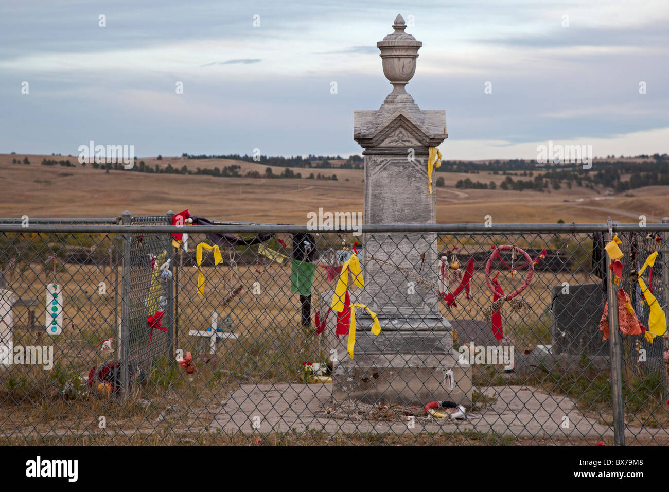 Monument Marks the Grave of Indians Killed in 1890 Wounded Knee Massacre Stock Photo