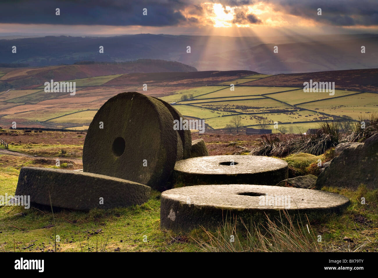 Mill Stones near Stanage Edge in the Peak District National Park - Stock Image