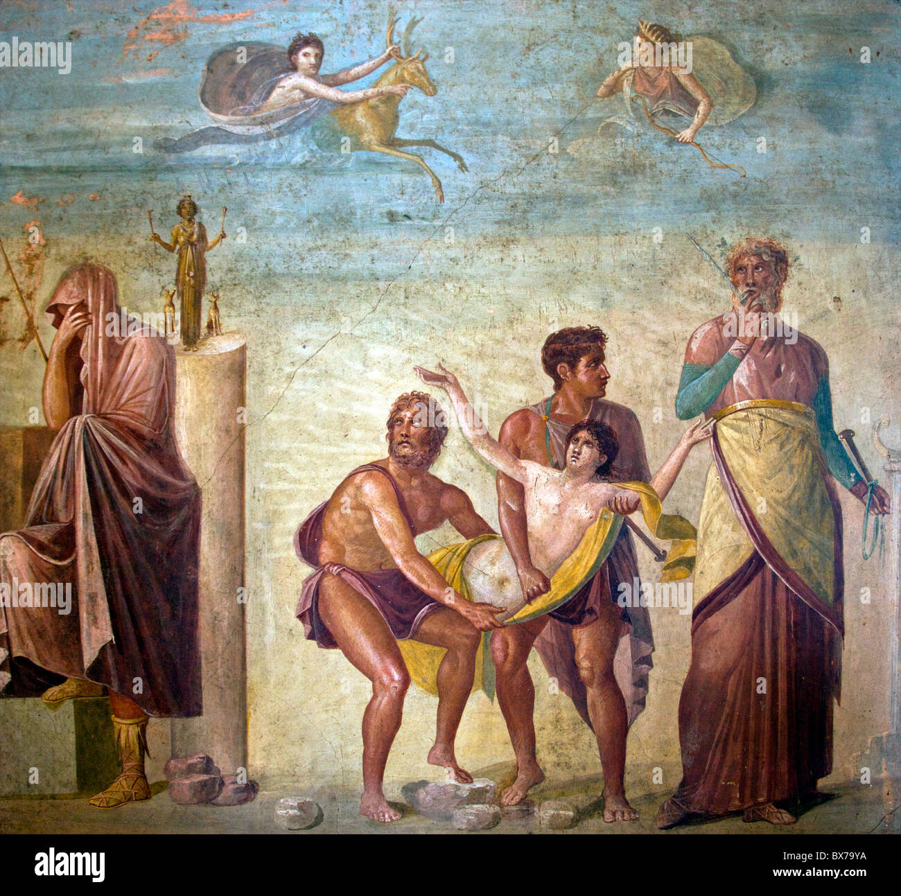 Artemis sends a deer to spare sacrifice of Iphigenia, House of Tragic Poet from Pompeii, National Archaeological - Stock Image