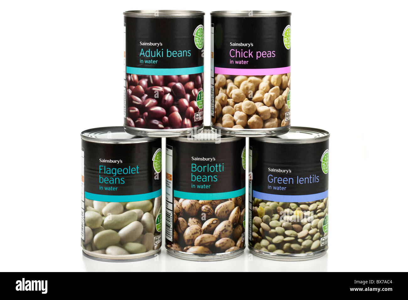 Five Tins of Sainsburys beans peas and lentils - Stock Image