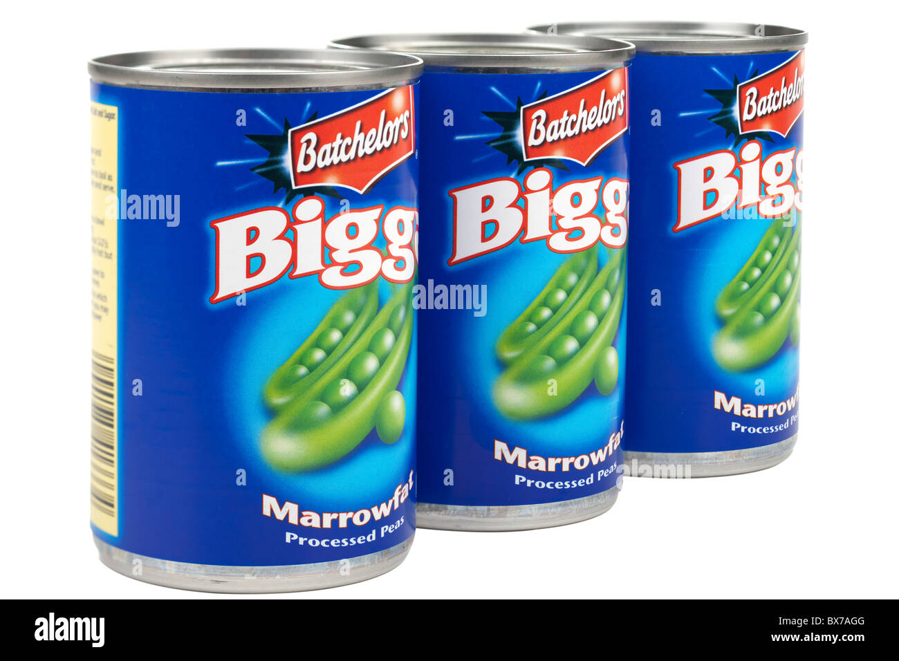 Three tins of Batchelor's Bigga Marrowfat peas - Stock Image