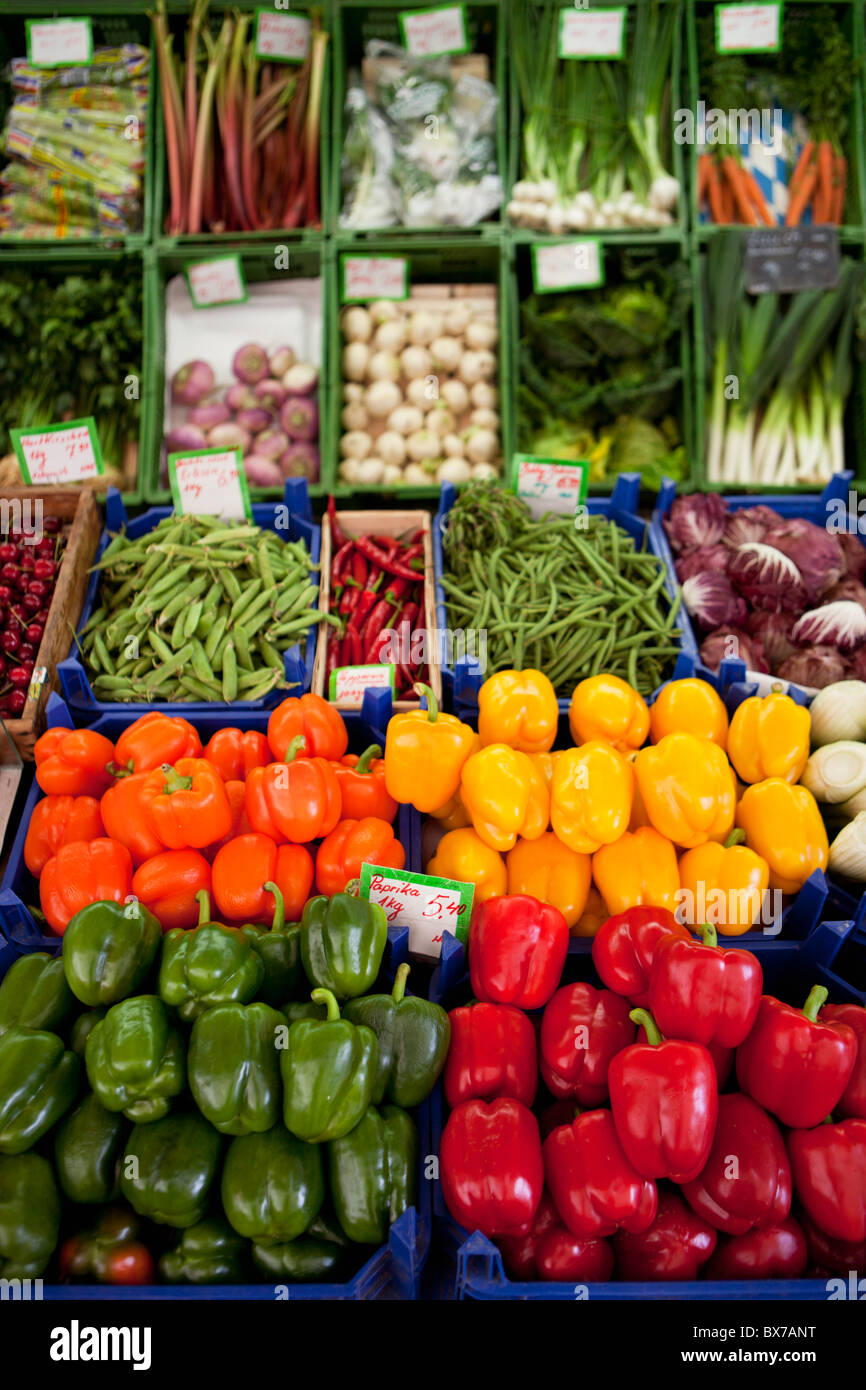 Various peppers shown on a market - Stock Image